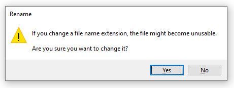 If you change a file name extension, the file might become unusable. Are you sure you want to change it?